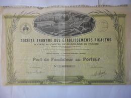 Etablissemens RICALENS       LAROQUE D'OLMES (ARIEGE) - Shareholdings