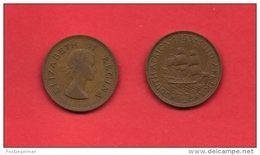 SOUTH AFRICA, 1953,  Circulated Coin, 1/2 Penny, QE II, Km 45, C1441 - South Africa