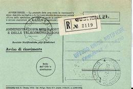 1959 - Amministrazione Della Poste E Delle Telecomunicazioni - Avviso Di Ricevimento Raccomandata - Guglionesi - Campoba - 1946-.. République