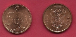SOUTH AFRICA, 2007, 5 Off Nicely Used Coins 5 Cent C2141 - South Africa