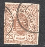 Luxembourg  Armoiries 25 Cent  No 8 Oblitéré - 1859-1880 Armoiries