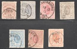 Luxembourg  Armoiries Lignes Colorées 7 Valeurs Oblitérés - 1859-1880 Coat Of Arms