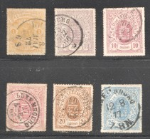 Luxembourg  Armoiries Lignes Colorées 6 Variétés De Teintes Oblitérés - 1859-1880 Armoiries