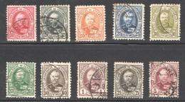 Luxembourg  Adolphe De Face Nos 59-68 Série Complète Oblitérés 5fr Signé Stolow - 1891 Adolphe De Face