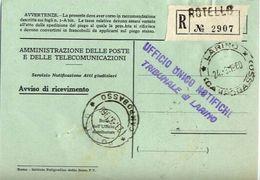 1960 - Amministrazione Della Poste E Delle Telecomunicazioni - Avviso Di Ricevimento Raccomandata - Rotello - Campobasso - 1946-.. République