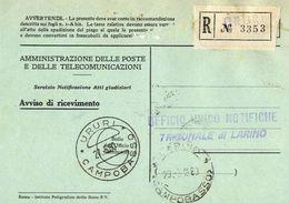 1960 - Amministrazione Della Poste E Delle Telecomunicazioni - Avviso Di Ricevimento Raccomandata - Ururi - Campobasso - 1946-.. République