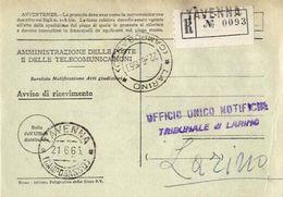 1963 - Amministrazione Della Poste E Delle Telecomunicazioni - Avviso Di Ricevimento Raccomandata - Tavenna - Campobasso - 1946-.. République