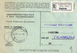 1968 - Amministrazione Della Poste E Delle Telecomunicazioni - Avviso Di Ricevimento Raccomandata - Campobasso - Corr.pa - 1946-.. République