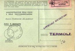 1969 - Amministrazione Della Poste E Delle Telecomunicazioni - Avviso Di Ricevimento Raccomandata - Ripalimosani - Campo - 6. 1946-.. Republic