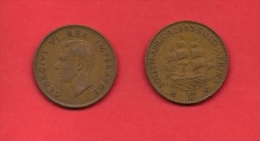 SOUTH AFRICA, 1943,  Circulated Coin, 1 Penny, George VI, Km 25, C1425 - South Africa