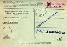 1969 - Amministrazione Della Poste E Delle Telecomunicazioni - Avviso Di Ricevimento Raccomandata - Ripalimosani 2214 - - 6. 1946-.. Republic
