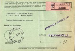 1969 - Amministrazione Della Poste E Delle Telecomunicazioni - Avviso Di Ricevimento Raccomandata - Ripalimosani 2280 - - 1946-.. République