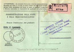 1969 - Amministrazione Della Poste E Delle Telecomunicazioni - Avviso Di Ricevimento Raccomandata - Trivento - Campobass - 1946-.. République