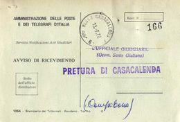 1972 - Amministrazione Della Poste E Delle Telecomunicazioni - Avviso Di Ricevimento Raccomandata - Casacalenda - Campob - 1946-.. République