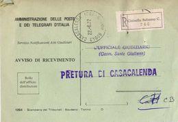 1972 - Amministrazione Della Poste E Delle Telecomunicazioni - Avviso Di Ricevimento Raccomandata - Cinisello Balsamo C. - 1946-.. République