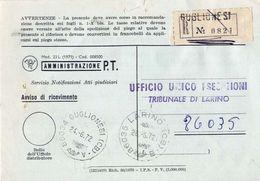 1972 - Amministrazione Della Poste E Delle Telecomunicazioni - Avviso Di Ricevimento Raccomandata - Guglionesi - Campoba - 1981-90: Storia Postale