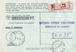 1972 - Amministrazione Della Poste E Delle Telecomunicazioni - Avviso Di Ricevimento Raccomandata - Palata - Campobasso - 6. 1946-.. Repubblica