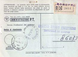 1973 - Amministrazione Della Poste E Delle Telecomunicazioni - Avviso Di Ricevimento Raccomandata - Bonefro - Campobasso - 6. 1946-.. Repubblica