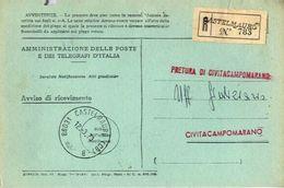 1973 - Amministrazione Della Poste E Delle Telecomunicazioni - Avviso Di Ricevimento Raccomandata - Castelmauro - Campob - 6. 1946-.. Republic