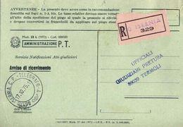 1975 - Amministrazione Della Poste E Delle Telecomunicazioni - Avviso Di Ricevimento Raccomandata - Isernia - 1946-.. République