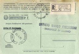 1975 - Amministrazione Della Poste E Delle Telecomunicazioni - Avviso Di Ricevimento Raccomandata - Montenero Di Bisacci - 1946-.. République