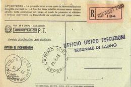 1975 - Amministrazione Della Poste E Delle Telecomunicazioni - Avviso Di Ricevimento Raccomandata - Ripabottoni - Campob - 6. 1946-.. Republic