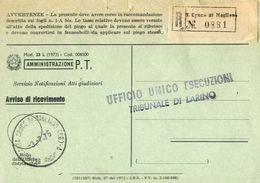 1975 - Amministrazione Della Poste E Delle Telecomunicazioni - Avviso Di Ricevimento Raccomandata - S.croce Di Magliano - 6. 1946-.. Republic