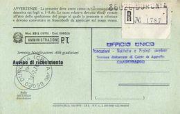 1976 - Amministrazione Della Poste E Delle Telecomunicazioni - Avviso Di Ricevimento Raccomandata - Duronia - Campobasso - 1946-.. République