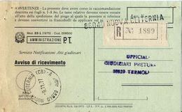 1977 - Amministrazione Della Poste E Delle Telecomunicazioni - Avviso Di Ricevimento Raccomandata - Nuova Cliternia - Ca - 6. 1946-.. Repubblica