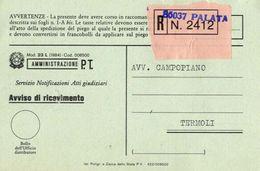 1987 - Amministrazione Della Poste E Delle Telecomunicazioni - Avviso Di Ricevimento Raccomandata - Palata - Campobasso - 1946-.. République