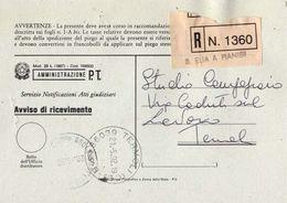1992 - Amministrazione Della Poste E Delle Telecomunicazioni - Avviso Di Ricevimento Raccomandata - S.elia A Pianisi - C - 1946-.. République