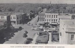 Independence Missouri, Liberty Street Scene, Autos Buses, C1940s Vintage Postcard - Independence