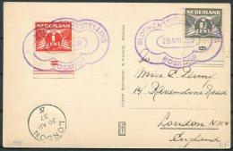 1937 Netherlands Boskoop Canal Hefbrug Postcard. Flower Exhibition - Period 1891-1948 (Wilhelmina)
