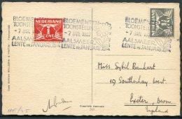 1937 Netherlands Postcard, Flower Exhibition Aalsmeer / Bloementen Toonstelling - Exeter - Period 1891-1948 (Wilhelmina)
