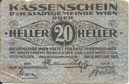 Austria (notgeld) 20 Heller 1919, Wien Ref 1582 - Austria