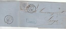 LAC T.18 Obl Ldp 351 De Termonde Dendermonde 3 Nov 1869 Vers Liège - 1865-1866 Profil Gauche