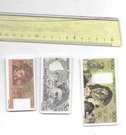 3 Billets En Francs En Matière Plastique Dur Imprimés Recto Verso - Specimen