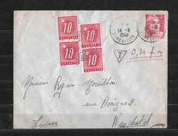 1948 NACHPORTO → Brief Von Frankreich Nach Neuchâtel - Portomarken