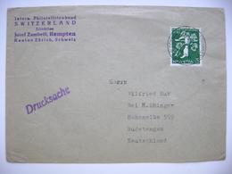 Switzerland 1939 Drucksache Postmark Automobil Postbureau Zürich, Schw. Landes Ausstellung - Hohenelbe Sudetengau, 5 C. - Cartas