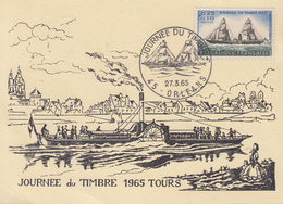 Carte   Locale  1er  Jour  FRANCE   JOURNEE  Du  TIMBRE    TOURS   Oblitération   ORLEANS  1965 - Journée Du Timbre
