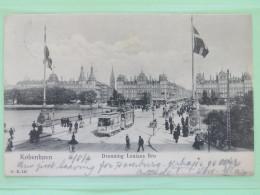 "Denmark 1904 Postcard """"Kobenhavn - Tramway - Dronning Louises"""" To England - Lions - 1864-04 (Christian IX)"