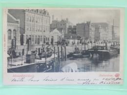 """Netherlands 1901 Postcard """"""""Rotterdam - Boats"""""""" To France - Queen - Brieven En Documenten"""