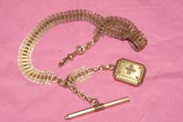 CHAINE MONTRE à GOUSSET MURAT + MEDAILLON PORTE PHOTO à Charnière Et Sa CLE CLEF 37 Cms - Jewels & Clocks