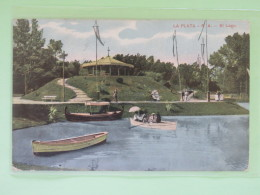 "Argentina 1910 Postcard """"La Plata - Lake - Boat"""" To England - San Martin - Argentine"