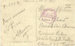 """1917- WWI- Guerre D'Orient - C P Ade Pise  En F M """"  INFIRMERIE DE GENES / Mission Sanitaire Française ' - Marcofilie (Brieven)"""