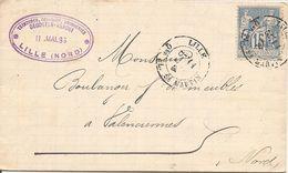 SAGE Sur  LAC OBLI  LILLE Qer PL ST MARTIN - Marcophilie (Lettres)