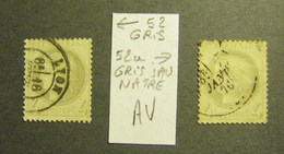 France YT 52 Et 52A Nuance Gris Et Gris Jaunâtre Oblitérés Belle Dentelure Et Cachets Ronds Cote 50 Euros Chaque - 1871-1875 Ceres