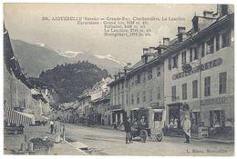 Cpa Aiguebelle - Grande Rue, Charbonnière, La Lauzière .. ( Hôtel De La Poste, Automobile ) - Aiguebelle