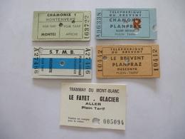 CHAMONIX : LOT De 5 Tickets De 1977. (Tramway Et Téléphérique) - Europe