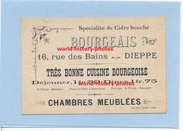 Carte Commerciale - BOURGEAIS  DIEPPE (76)  - Très Bonne Cuisine Bourgeoise - Chambres Meublées - Dieppe